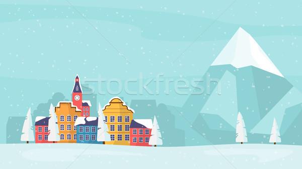 Winter Holiday family card, banner, poster. Stock photo © RAStudio