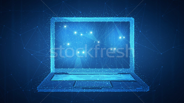 Polygon laptop on blockchain hud banner. Stock photo © RAStudio