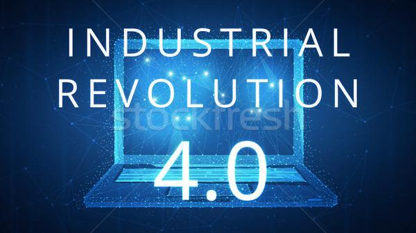 Dördüncü endüstriyel devrim afiş dizüstü bilgisayar fütüristik Stok fotoğraf © RAStudio