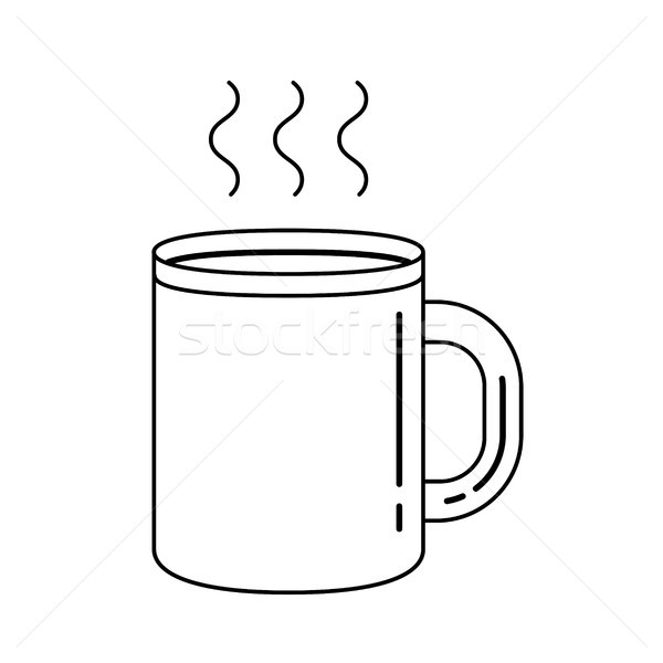 Mug of hot drink vector line icon. Stock photo © RAStudio