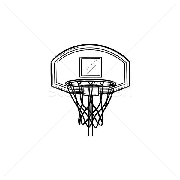 Basketball hoop and net hand drawn outline doodle icon. Stock photo © RAStudio