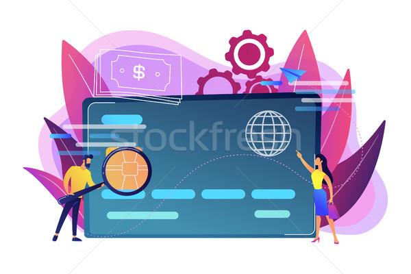 Műanyag pénz bankkártya mikrocsip férfi nagyító Stock fotó © RAStudio