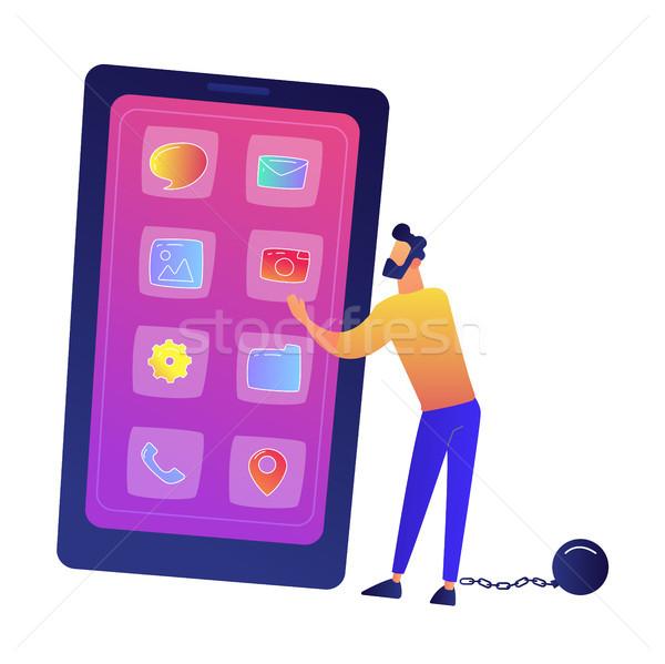 ビジネスマン 巨大な スマートフォン 携帯電話 ストックフォト © RAStudio