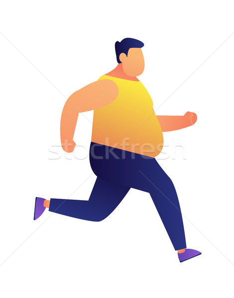 Overweight man jogging vector illustration. Stock photo © RAStudio