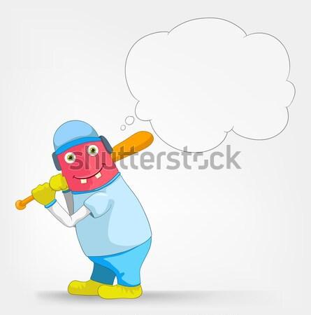 Funny monstruo hockey aislado gris Foto stock © RAStudio