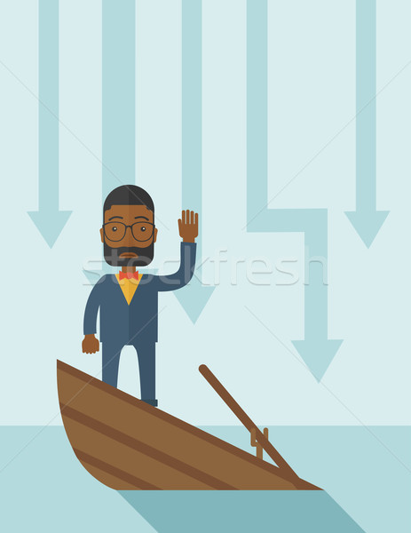 Stock photo: Failure black businessman standing on a sinking boat.