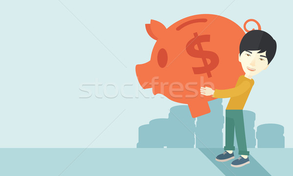 Chinese businessman carries a big piggy bank for saving money. Stock photo © RAStudio