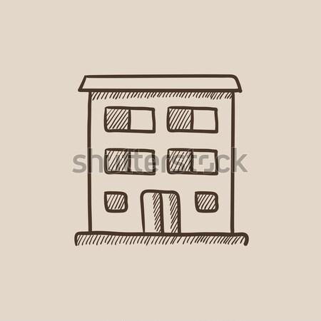 Condominium building icon drawn in chalk. Stock photo © RAStudio