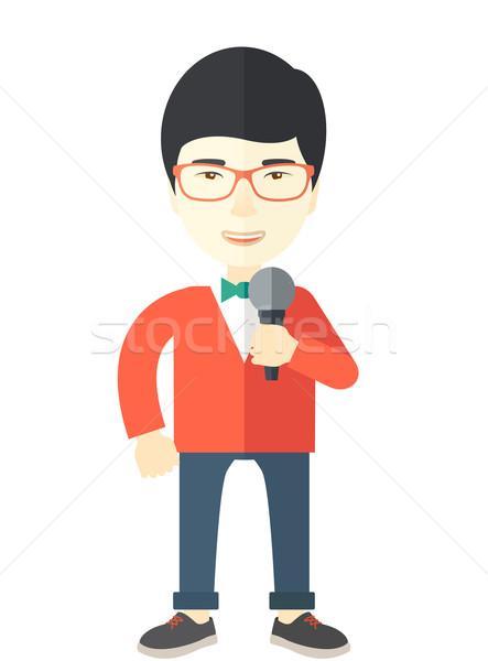 Muhabir Asya kırmızı gözlük Stok fotoğraf © RAStudio
