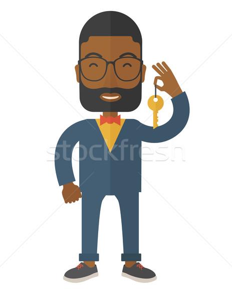 Ingatlanügynök szakáll szemüveg tart kulcs vektor Stock fotó © RAStudio