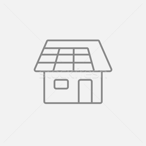 House with solar panel line icon. Stock photo © RAStudio