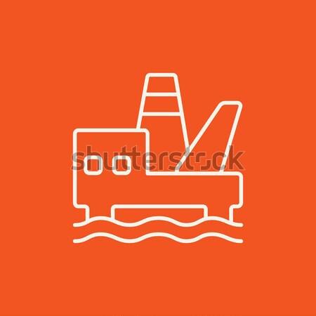 Offshore olaj vágány vonal ikon háló Stock fotó © RAStudio