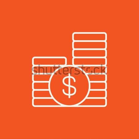 Stock photo: Dollar coins line icon.