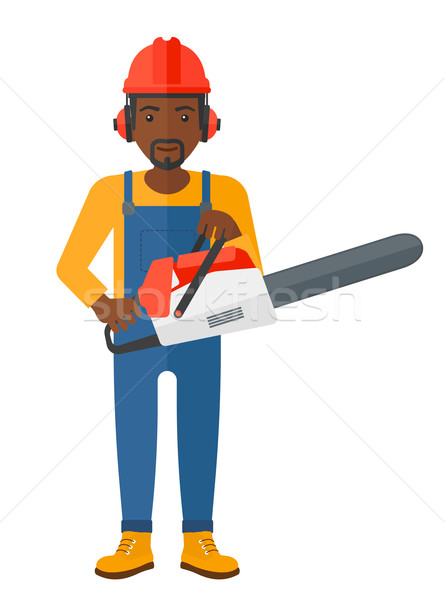 Cheerful lumberjack with chainsaw. Stock photo © RAStudio