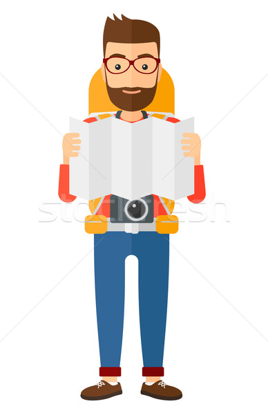 Backpacker naar kaart camera vector ontwerp Stockfoto © RAStudio