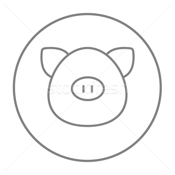 Pig head line icon. Stock photo © RAStudio