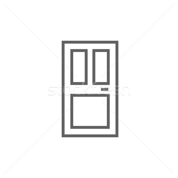 парадная дверь линия икона уголки веб мобильных Сток-фото © RAStudio