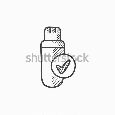 Usb flash drive schets icon web mobiele Stockfoto © RAStudio