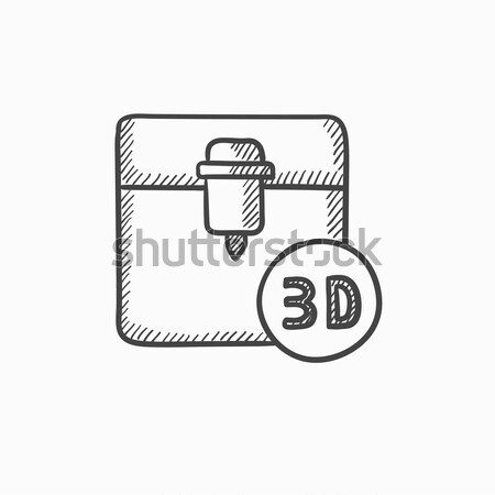 Boom afdrukken schets icon web mobiele Stockfoto © RAStudio