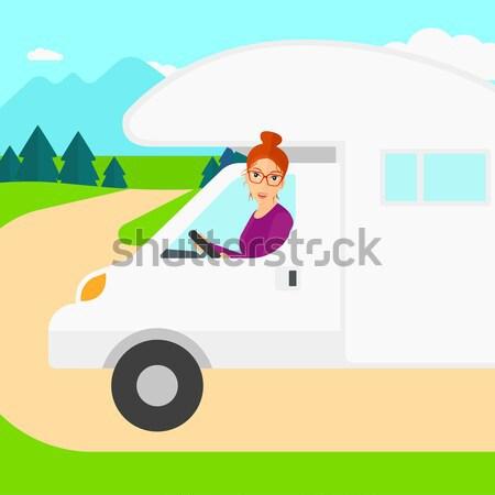 Kobieta jazdy silnikowych domu asian lasu Zdjęcia stock © RAStudio