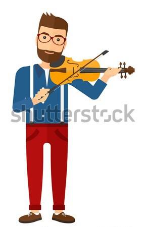 Férfi játszik hegedű ázsiai vektor terv Stock fotó © RAStudio