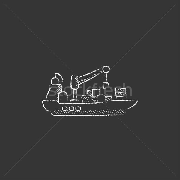 Carga navio porta-contentores giz ícone Foto stock © RAStudio