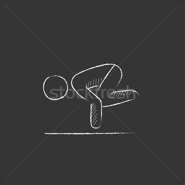 Man practicing yoga. Drawn in chalk icon. Stock photo © RAStudio