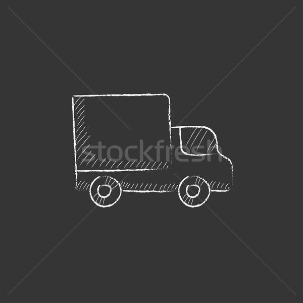 Delivery van. Drawn in chalk icon. Stock photo © RAStudio