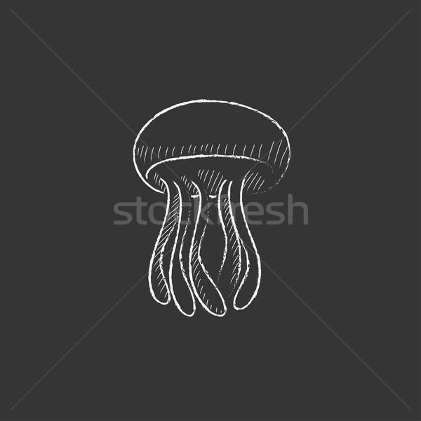 медуз мелом икона рисованной вектора Сток-фото © RAStudio