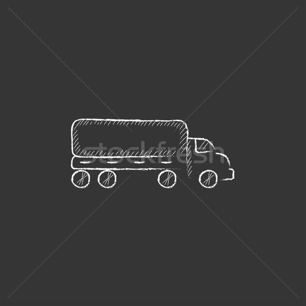 Teslim kamyon tebeşir ikon vektör Stok fotoğraf © RAStudio