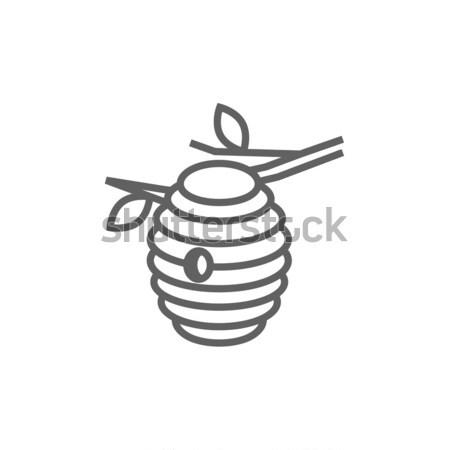 Arı kovan hat ikon köşeler web Stok fotoğraf © RAStudio