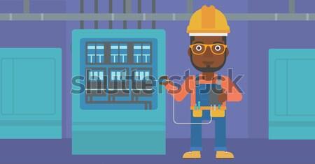 Villanyszerelő elektronikai készülék hipszter férfi sisak mér Stock fotó © RAStudio