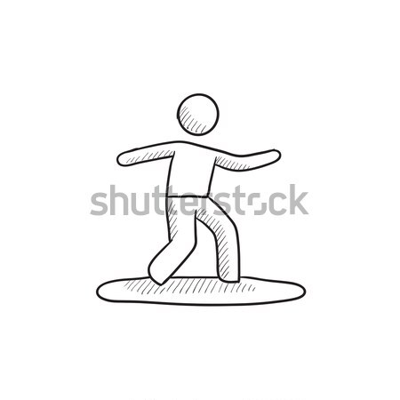 мужчины Surfer верховая езда доска для серфинга эскиз икона Сток-фото © RAStudio