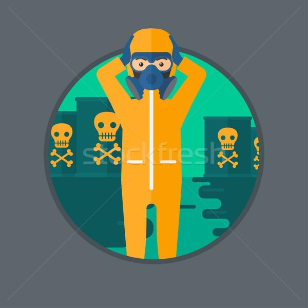 Homem radiação terno máscara cabeça em pé Foto stock © RAStudio