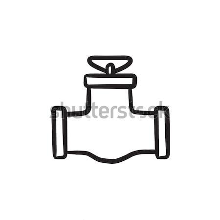 Gaz boru valf kroki ikon vektör Stok fotoğraf © RAStudio