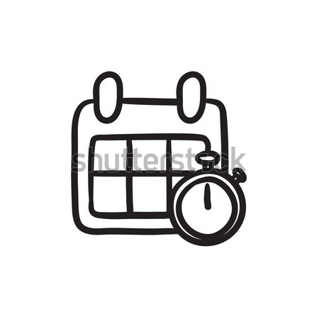 Calendar and stopwatch sketch icon. Stock photo © RAStudio