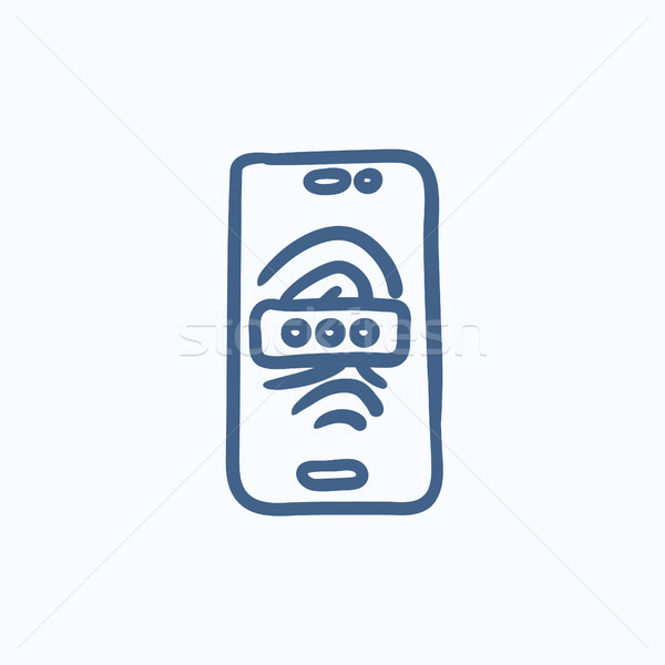 Mobile phone scanning fingerprint sketch icon. Stock photo © RAStudio