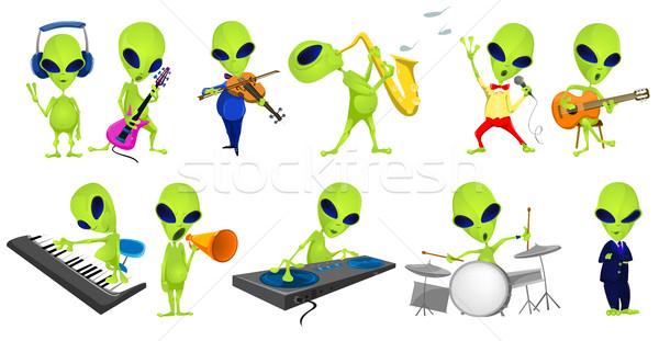 Foto stock: Vector · establecer · verde · música · ilustraciones · cantando
