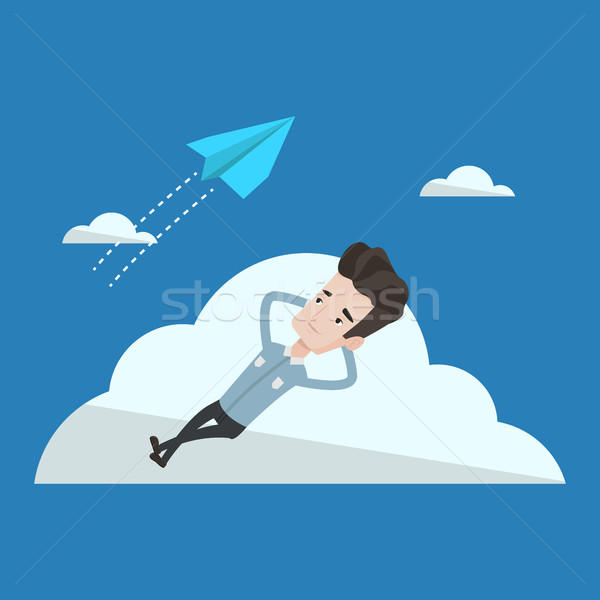 Businessman lying on cloud vector illustration. Stock photo © RAStudio