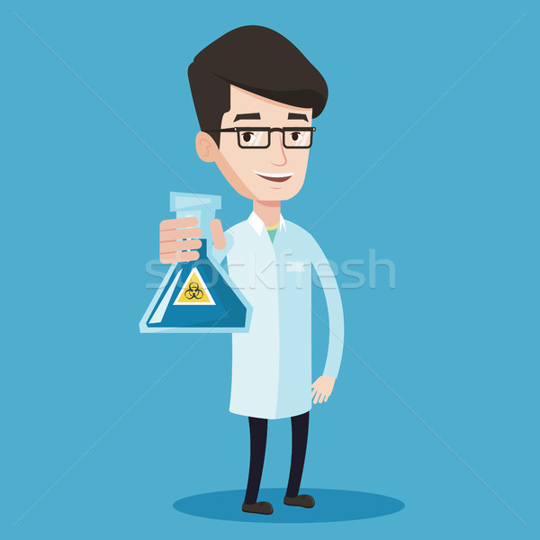 Scientist holding flask with biohazard sign. Stock photo © RAStudio