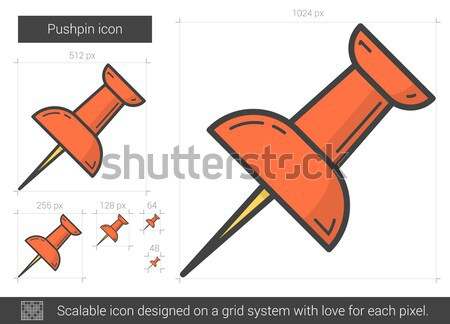 Pushpin line icon. Stock photo © RAStudio