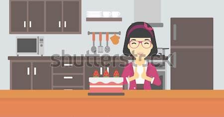 Сток-фото: женщину · глядя · торт · искушение · азиатских · счастливым