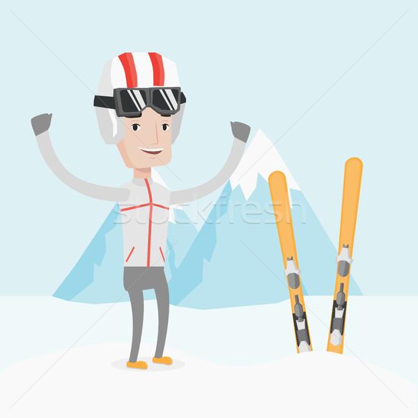лыжник Постоянный поднятыми руками спортсмен гор Сток-фото © RAStudio