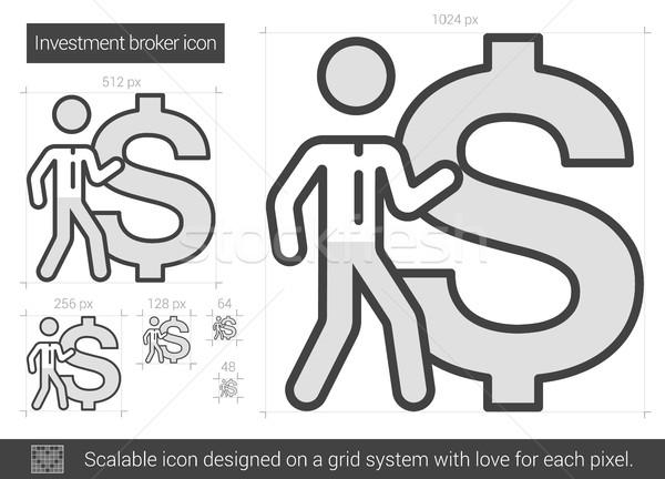 Investimento corretor linha ícone vetor isolado Foto stock © RAStudio
