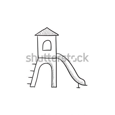 Játszótér csúszda rajz ikon vektor izolált Stock fotó © RAStudio