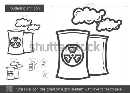 Jądrowej elektrownia szkic ikona wektora odizolowany Zdjęcia stock © RAStudio