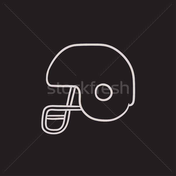 Hockey casco boceto icono vector aislado Foto stock © RAStudio