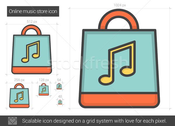 On-line música armazenar linha ícone vetor Foto stock © RAStudio
