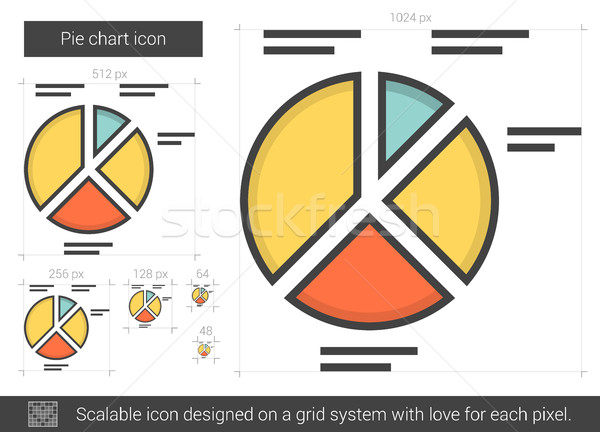 円グラフ 行 アイコン ベクトル 孤立した 白 ストックフォト © RAStudio