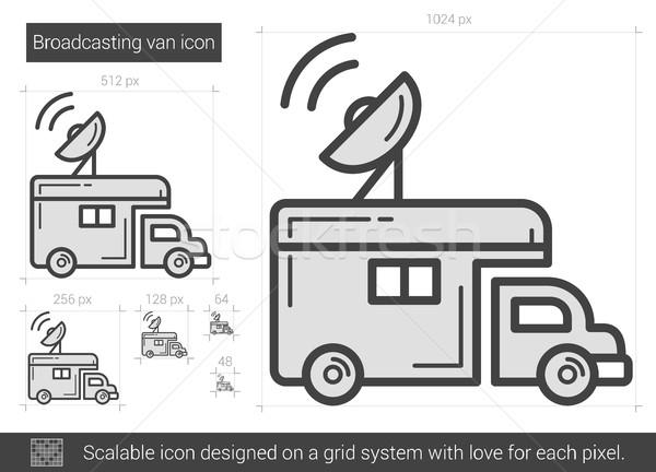 Yayın kamyonet hat ikon vektör yalıtılmış Stok fotoğraf © RAStudio